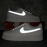 Кроссовки женские / подростковые в стиле Nike Air Force 1.   Рефлектив