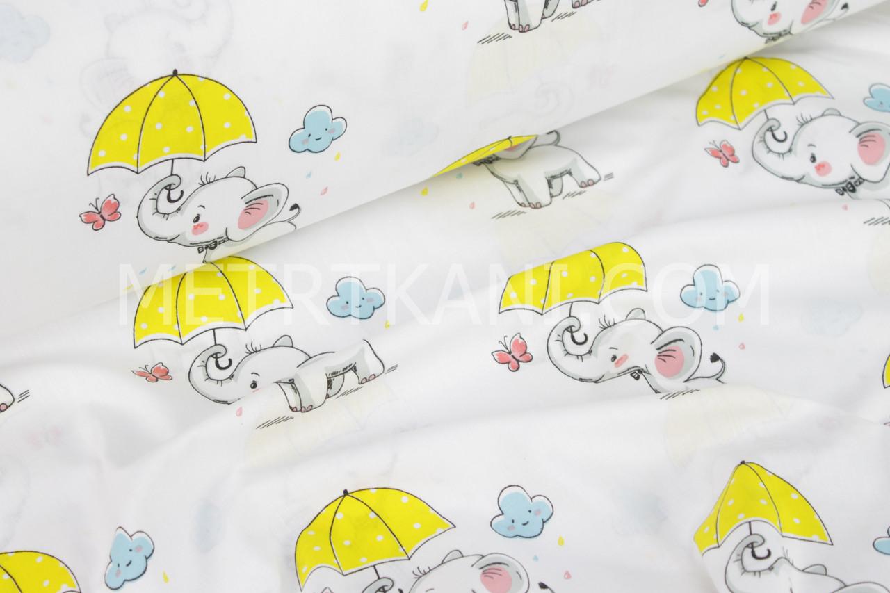 Ткань бязь со слониками с желтыми зонтиками под дождем №888