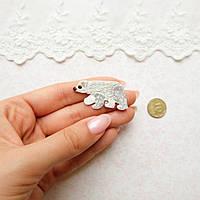 """Термонашивка, аппликация для одежды и декора """"Северный мишка"""" - 2*3,5 см"""