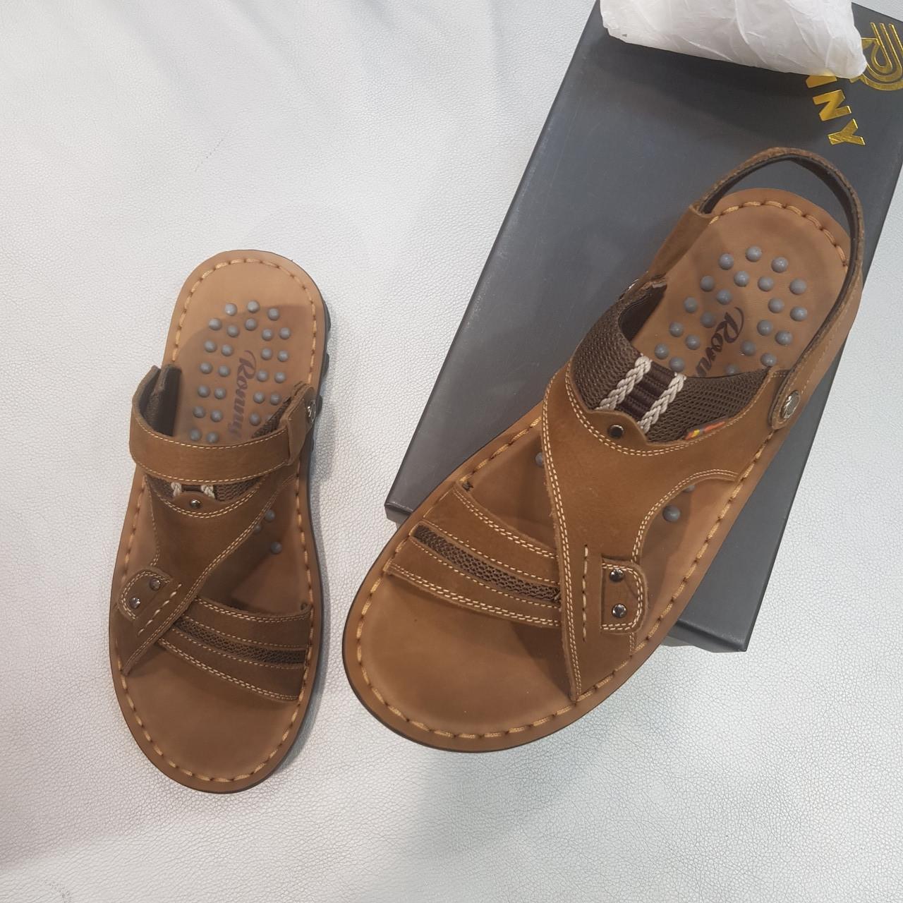 Мужские босоножки, сандалии из натуральной кожи оливковые