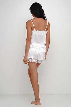 Нежная белая  шелковая пижама майка и шортики с  кружевом TM Orli, фото 2