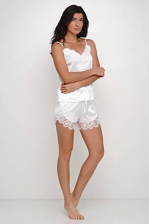 Женская белая  шелковая пижама майка и шортики с  кружевом TM Orli, фото 2