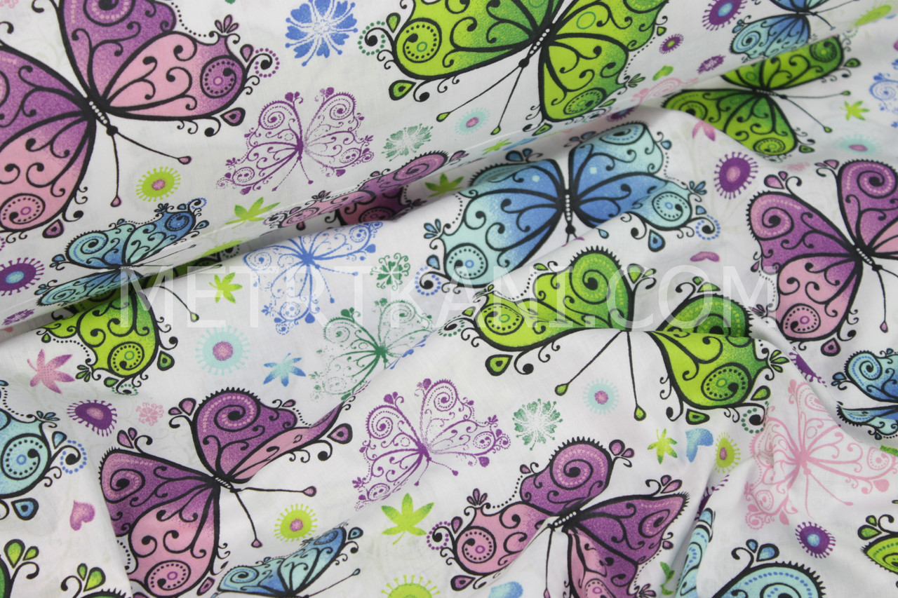 """Ткань бязь """"Кружевные  бабочки"""" на белом фоне №975"""