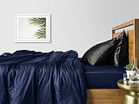Комплект полуторного постельного белья сатин DARK BLUE BLACK-P