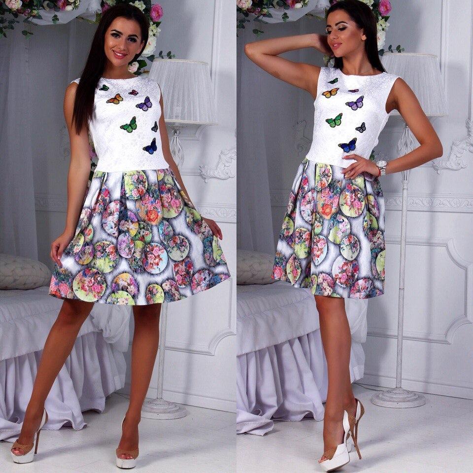Женственное платье с бабочками (44-50)