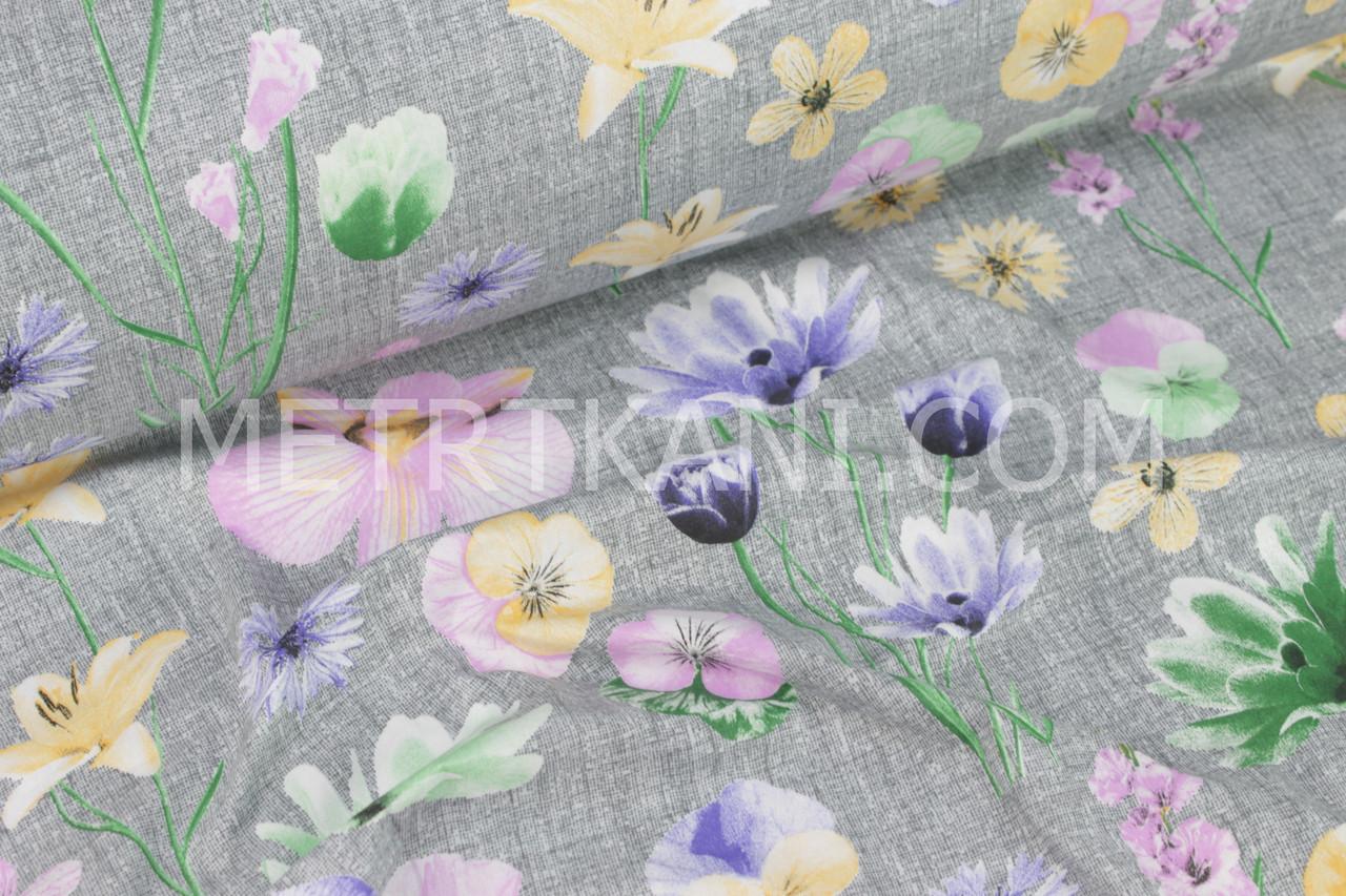 Польская бязь крупные цветы с основой плетения нитей № 1003
