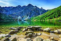 Фотообои флизелиновые 3D Природа 375х250 см Татры: горное озеро (MS-5-0076)