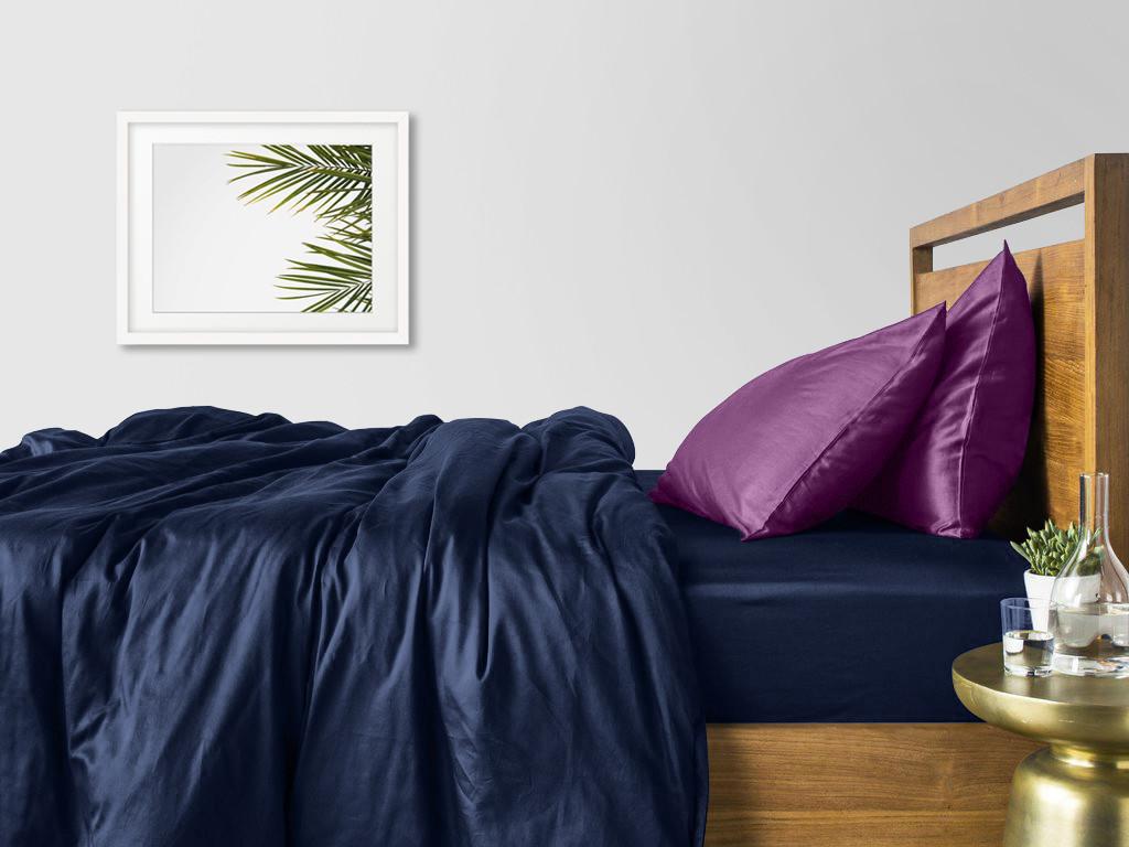 Комплект полуторного постельного белья сатин DARK BLUE VIOLET-P