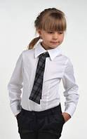 Блуза классическая с галстуком на рост 122, 128, 134 см