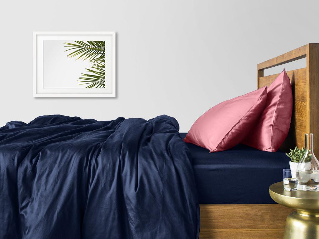 Комплект полуторного постельного белья сатин DARK BLUE PUDRA-P