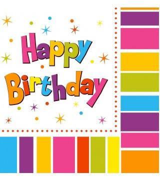 Салфетки бумажные двухслойные детские  Happy birthday20 шт