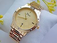 Женские часы Dior с камушками,золото, золотой циферблат, дата