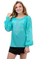 Блуза женская вышитая креп-шифон мятная, фото 1