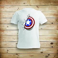 Футболка женская / мужская белая с печатью Капитан Америка (Captain America)