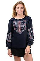 Блуза жіноча вишита креп-шифон темно-синя, фото 1