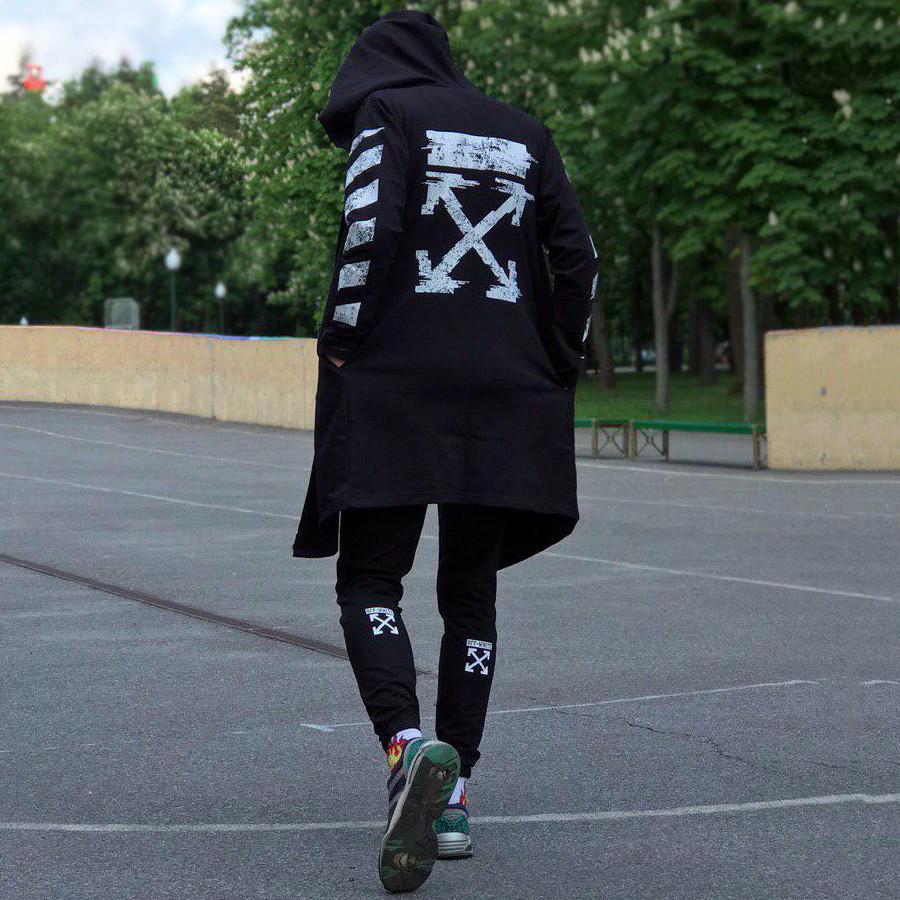 Комплект в стиле Off White c мантией черный (Штаны, футболка, мантия, маска, поясная сумка)