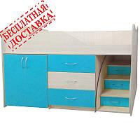 """Кровать стол комод ящики """"Бед-Рум 5"""" голубая, фото 1"""