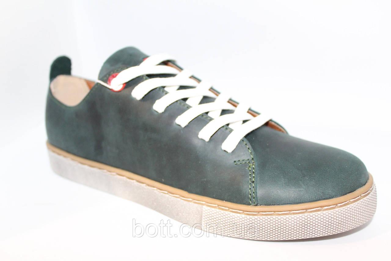 Кеды зеленые кожаные