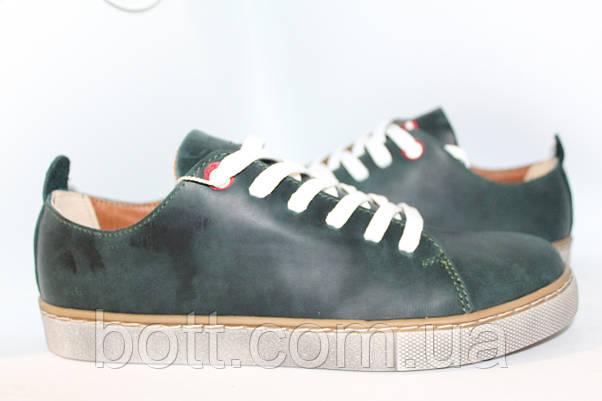 Кеды зеленые кожаные, фото 2