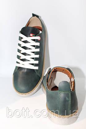 Кеды зеленые кожаные, фото 3