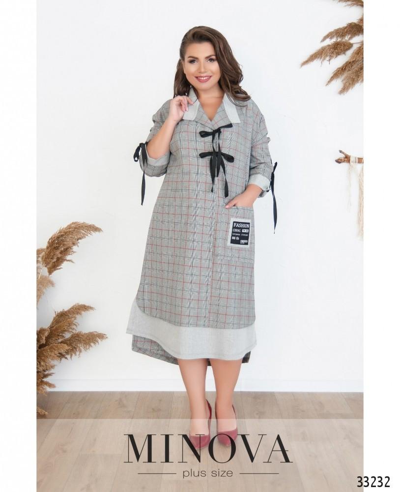 Батальное платье-рубашка 54-64 (в расцветках)