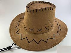 Шляпа Ковбойская коричневая замшевая, детская