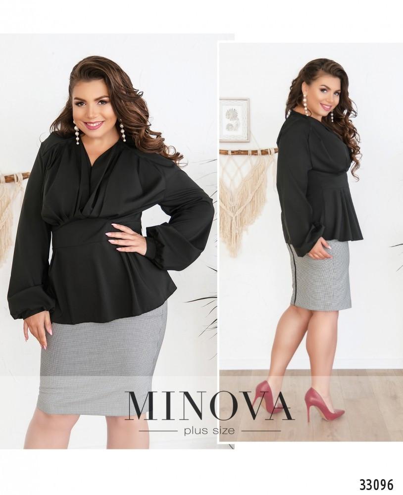 Стильная женская блуза с V-образным вырезом  с 50 по 56 размер