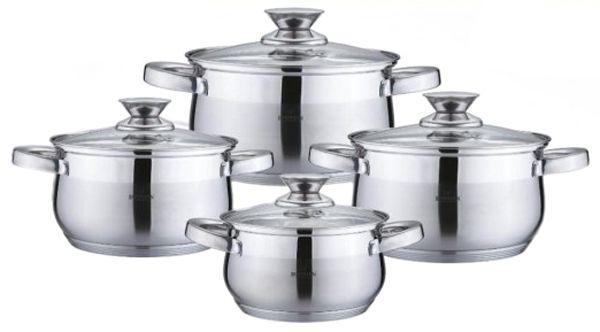Набір кухонного посуду із нержавіючої сталі 8 предметів Bohmann BH-0716