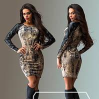 """Стильное молодежное платье мини """" Змея рукава экокожа """" Dress Code"""