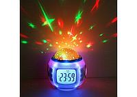 Музыкальные часы с проектором звездного неба. Ночник, проектор, будильник
