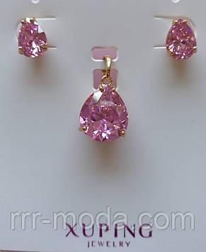 350 Опт, позолоченные серьги с кулонами, комплекты бижутерии Xuping Розовый