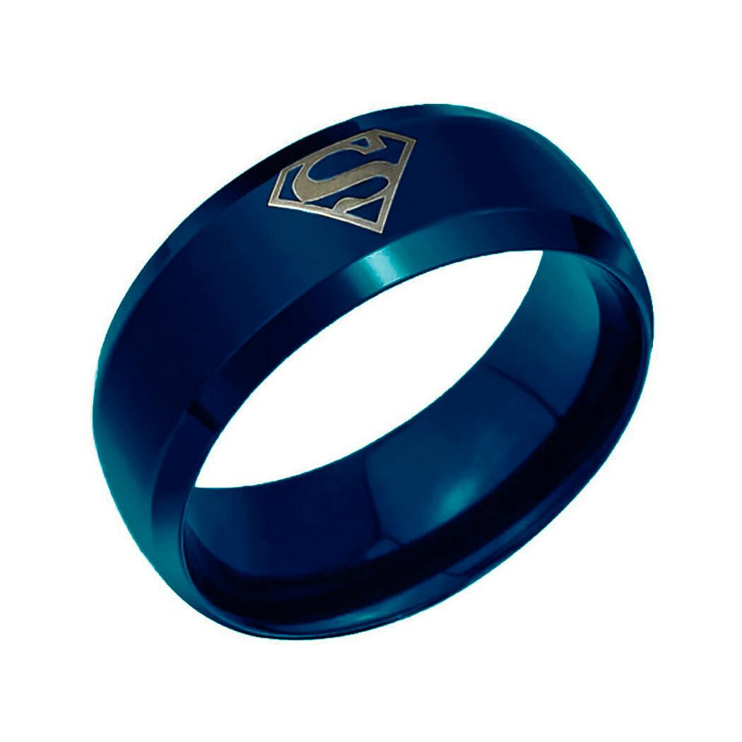 """Кільце з нержавіючої сталі """"Супермен"""", сині анодування, 1085КЖ"""