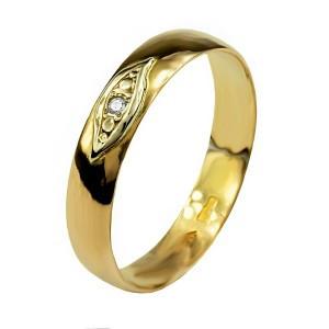 Обручальное кольцо из красного золота с бриллиантом 7079