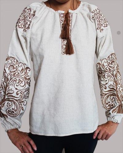Детская вышитая блуза на сером льне Ольга