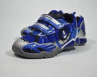 Детские кроссовки BI&KI для мальчика мигалки, синие, размеры 27-32