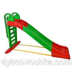 Детская большая горка Active Baby014550/1 Doloni Toys, 2430 мм, зеленая с красным