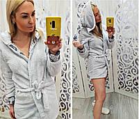 Женский короткий махровый халат с ушками, фото 1