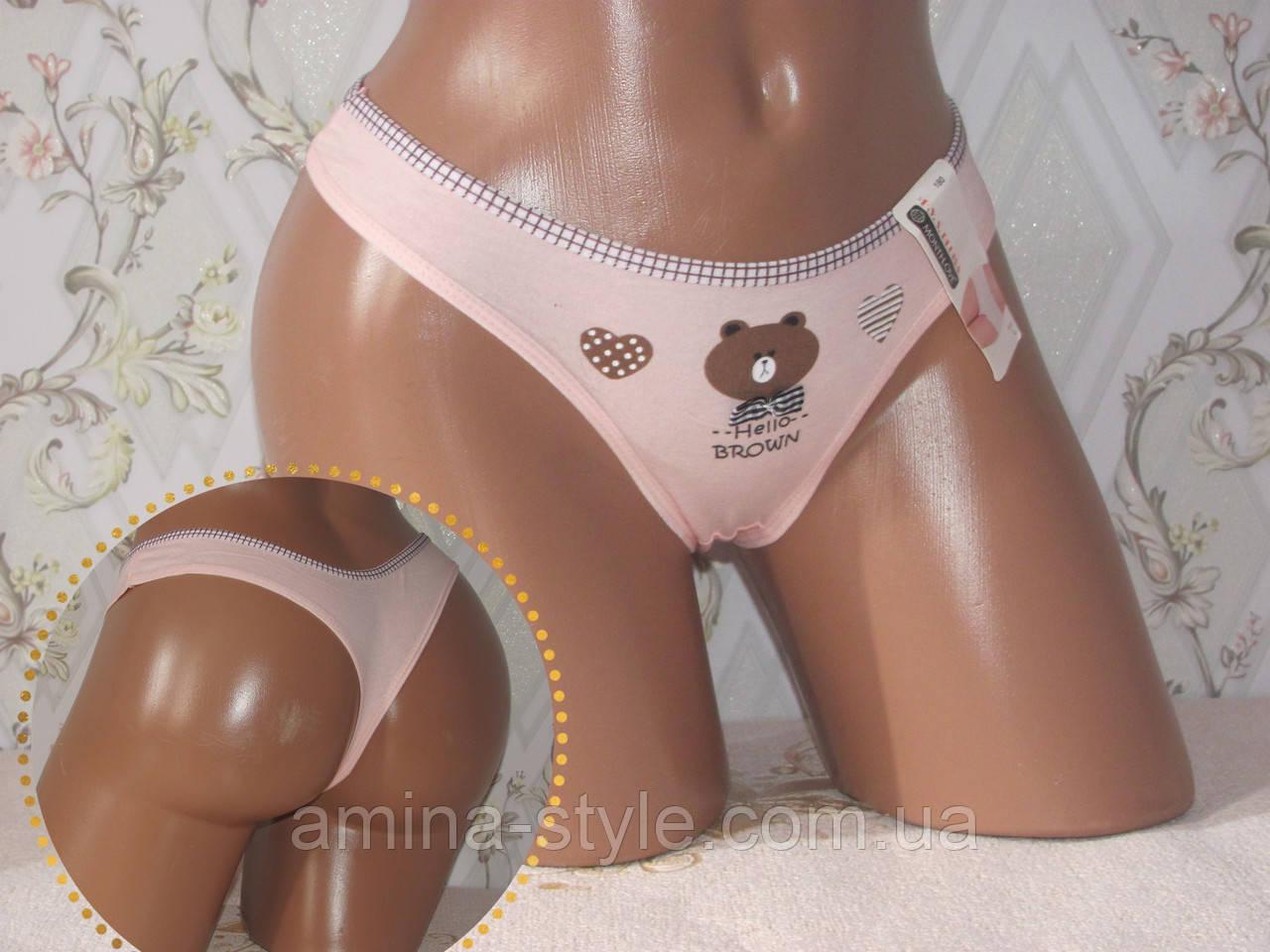 Женское нижнее бельё, стринги бикини хлопок. Размер 42-46