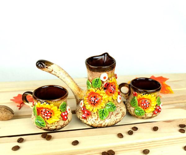 Турка Диканька керамическая с чашками 150 мл