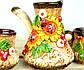 Турка Диканька керамическая с чашками 150 мл, фото 3