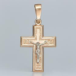 Золотой крестик с распятием. П03085