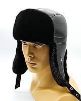 """Меховая шапка ушанка из норки и кожи """"Пилот"""" черная."""