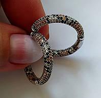 Новый дизайн. Серьги-кольца Питон с разноцветными фианитами