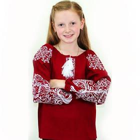 Детская вышитая блуза на бордовом льне