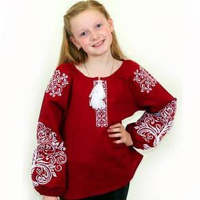 Детская вышитая блуза на бордовом льне, фото 2
