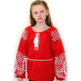 Детская вышитая блуза на красном льне