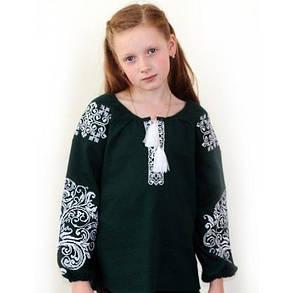 Детская вышитая блуза на зеленом льне, фото 2