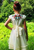 """Шикарне плаття для дівчинки вишитий на габардині """"українські маки з колосками"""",, фото 3"""