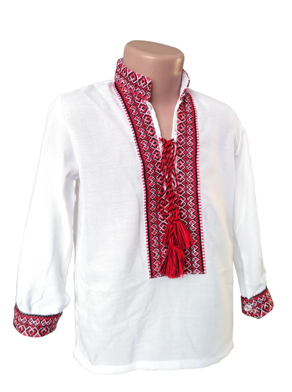 Рубашка Вышиванка из домотканного хлопка для мальчиков р. 92 - 176