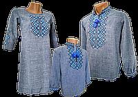 Рубашка Вышиванка  детская льняная для мальчиков  Family look р.158 - 176